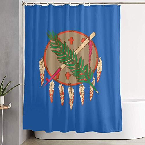 YING Oklahoma State Flag Washroom Waterproof Fabric Polyester Shower Curtain Bath Curtain Decoration Home Decor Sets with Plastic Hooks 60x72 Inches