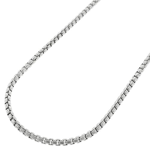 Sterling Silver Italian 2mm Round Box Link Solid 925 Rhodium Necklace Chain 16
