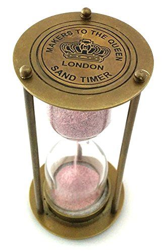 VINTAGE STYLE CLOCK TIMER BRASS HOUR GLASS ANTIQUE LOOK SAND TIMER