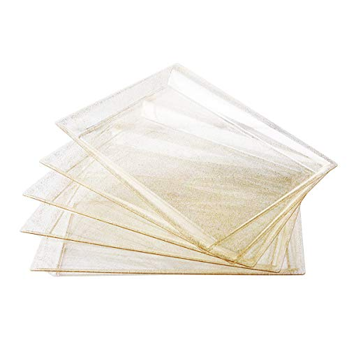 "6 Pack Gold Glitter Plastic Serving Tray, 15"" x 10"" Rectangle Food Trays, Clear Disposable Serving Platter for Parties, weddings"