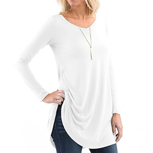 Posh Women's Long Sleeve V-Neck Tunic with Flare Style Hem - Super Soft Loose Fit T-Shirt Tunic Top, Perfect Casual Blouse for Leggings & Jeans - XX-Large - White