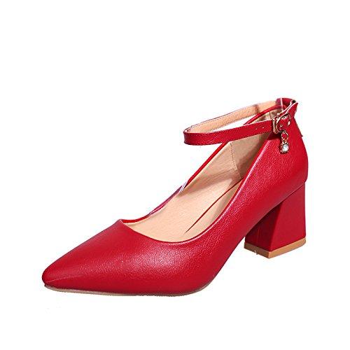 Con negrita, con una punta estrecha para ayuda bajo el Four Seasons Zapatos Zapatos Zapatos singles femeninos, rojo,40