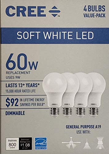 Cree 60 Watt Equivalent, Soft White, Dimmable, A19 LED Light Bulb, 4-Pack