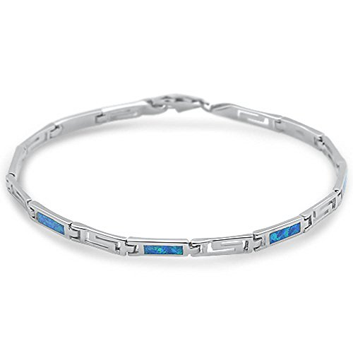 - Oxford Diamond Co Sterling Silver Lab Created Blue Opal Greek Key Bracelet
