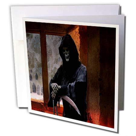 3dRose Sandy Mertens Halloween Designs - Grim Reaper The Spirit of Death is Waiting Inside, 3drsmm - 6 Greeting Cards with envelopes (gc_290222_1)