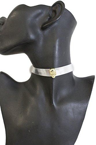 TFJ Women Punk Rock Fashion Gold Skeleton Skull Pendant Silver Faux Leather Choker Necklace (Kim Kardashian Halloween Costume Wonder Woman)