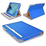 "MOFRED® Blue & Tan Apple iPad Air 2 (Launched Oct. 2014) Leather Case-MOFRED®- Executive Multi Function Leather Standby Case for Apple New iPad Air 2 with Built-in magnet for Sleep & Awake Feature -- Independently Voted by ""The Daily Telegraph"" as #1 iPad Air 2 Case!"