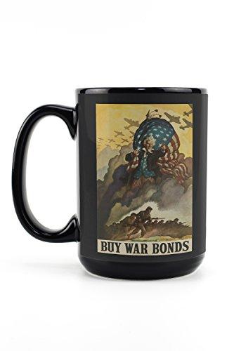 War Bonds 1942 - Buy War Bonds (artist: Wyeth) USA c. 1942 - Vintage Advertisement (15oz Black Ceramic Mug - Dishwasher and Microwave Safe)