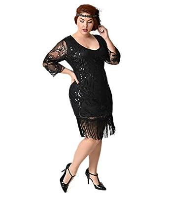 Unique Vintage Plus Size Black Beaded & Sequin Margaux Sleeved Fringe Flapper Dress