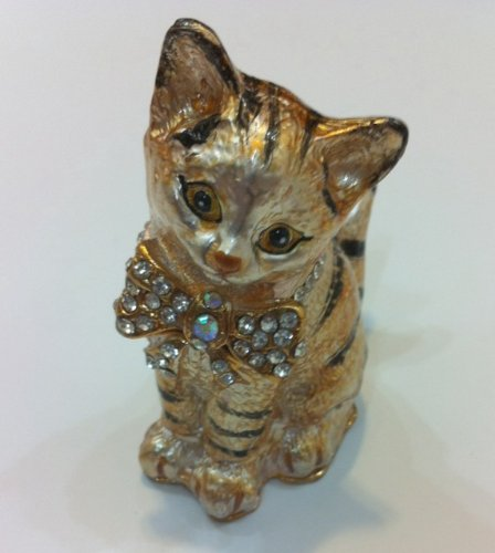 Cat Bejeweled Trinket Jewelry Box