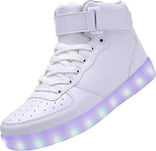 bianco da bianco Piccolo Alto Colori Moda junglest USB Scarpe Carica Alla Presente Camminata Lampeggiante per Sopra Uomo s LED Luce 7 Donna Scarpe LED Lo Luminosi Asciugamano Unisex da Calzature fqwA8wx
