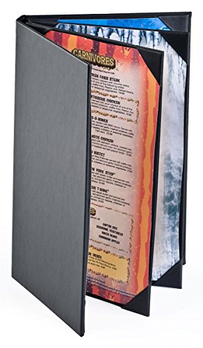 (25) 4-Page Menu Covers with 6 Views Holds 8.5 x 14 Sheets, Hardback Menu Presenters for Restaurants with Angled Corners, Black, Synthetic Leather - 9'' x 14.5'' x 1'' by Displays2go