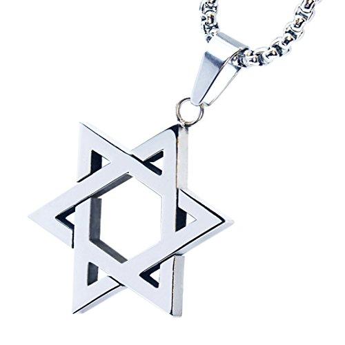 (metaltree98 Men's Stainless Steel Six Point Star Pendant 24