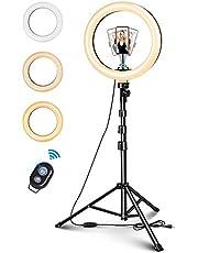 "Selfie licht 10 ""LED ringlicht ringlicht 135cm statief met afstandsbediening 1/4 schroef 3 kleur 11 helderheidsniveaus voor camera Gopro mobiele telefoon TikTok YouTube Vlog etc"