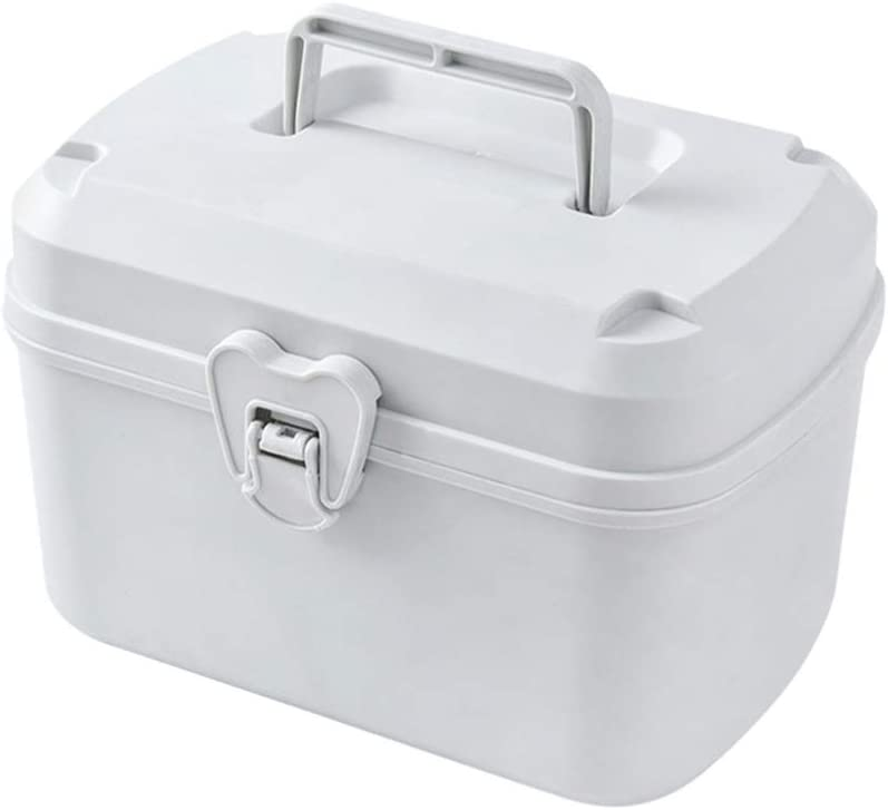 Exceart First Aid Box Empty Container Bin Portable Family Emergency Storage Organizer with Detachable Tray for Home Supplies White