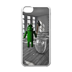 Android Smashing The Glass Apple Funny iPhone 5c Cell Phone Case White PQN6053055344081