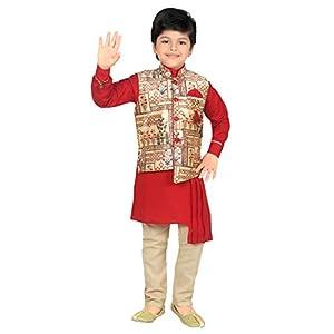 Ahhaaaa Kids Indian Ethnic Collection Waistcoat Kurta and Pyjama Set for Boys_420