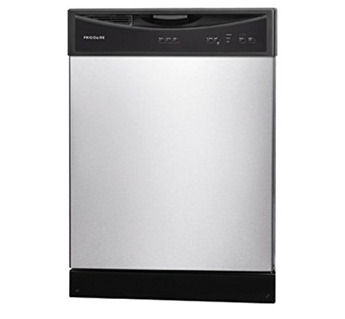 "FFBD2406NS 24″"" Full Console Built In Dishwasher with 14 Place Settings 3 Wash Cycles 60 dBA SpaceWise Delay Start Soft Food Disposer Energy Star Certified in Stainless Steel"