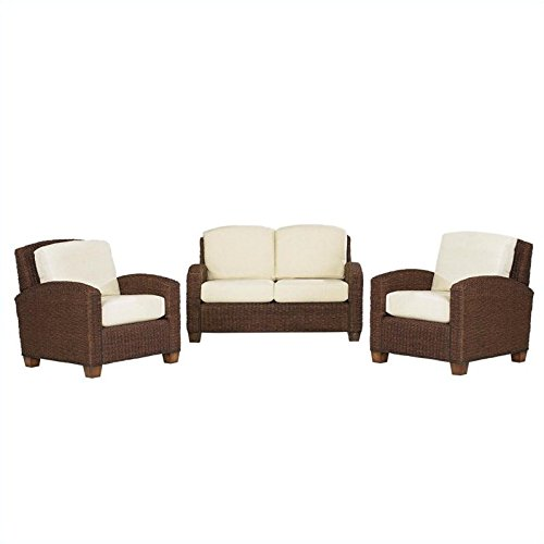 Home Styles 5402-300 Cabana Banana Love Seat and 2 Chairs, Cocoa Finish
