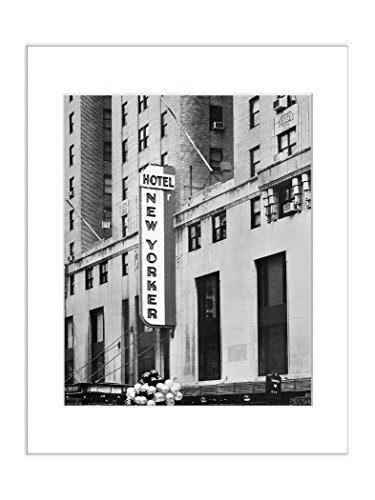 8x10 Matted Photo New Yorker Hotel NYC Black and White Urban Decor Architectural Print