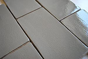 3x6 gray glossy crackle glazed subway ceramic tile walls showers