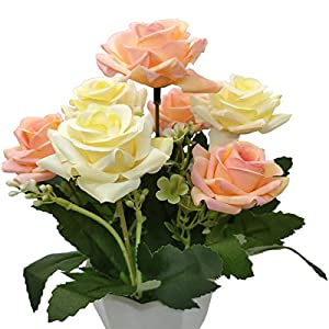 UIKKOT Artificial Fake Flowers Silk Bouquet Roses in Plastic Vase Sturdy Bottom Arrangements for Indoor Outdoor Decorations Wedding Party Home Videos Table Gift or MV (Pink and Yellow) 2