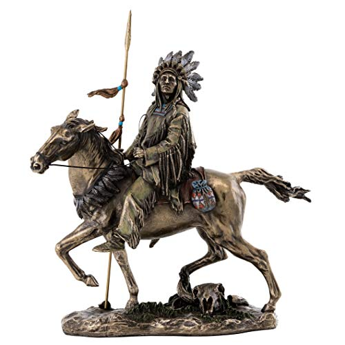 Top Collection Cheyenne Indian Riding Horse Statue - Native American Sculpture in Premium Cold Cast Bronze - 10.75-Inch Collectible Indigenous Figurine