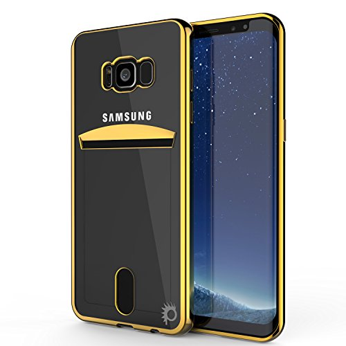 Galaxy S8 Plus Case, PUNKcase [LUCID Series] [Slim Fit] Protective Dual Layer Armor Cover W/ Scratch Resistant PUNKSHIELD Screen Protector [Card Slot Design] for Samsung Galaxy S8+ [GOLD]