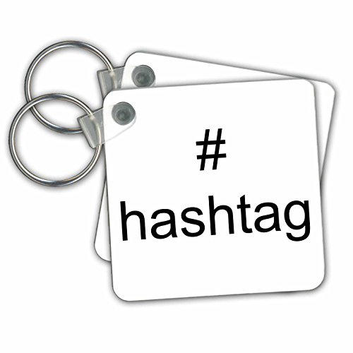 3dRose Black Hashtag Symbol on White Background 2.25 x 2.25 Inches Key Chains, Set of 2 (kc_192440_1)