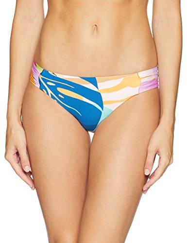 (Trina Turk Women's Shirred Side Hipster Pant Bikini Swimsuit Bottom, Blue/Red/Orange/Banana Leaf Print,)