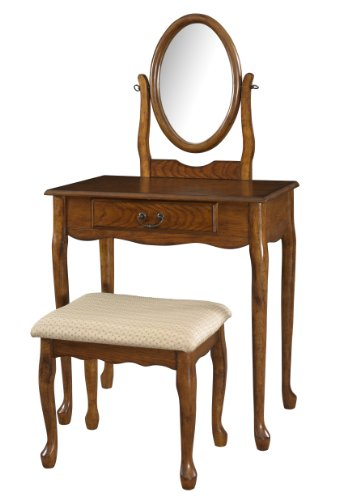 powell-company-woodland-oak-vanity-mirror-and-bench
