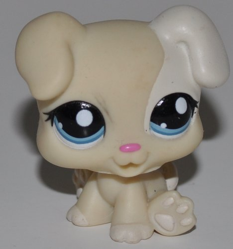 Puppy #1706 (Cream, White Accents, Blue Eyes) - Littlest Pet Shop (Retired) Collector Toy - LPS Collectible Replacement Figure - Loose (OOP Out of Package & Print)
