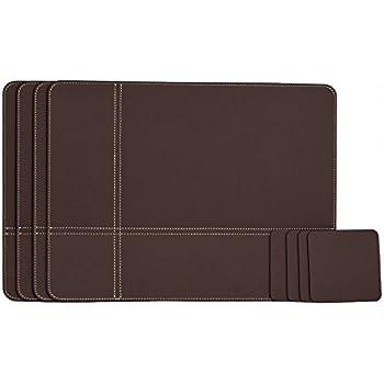 dacasso cut corner black leatherette placemat 17 inch