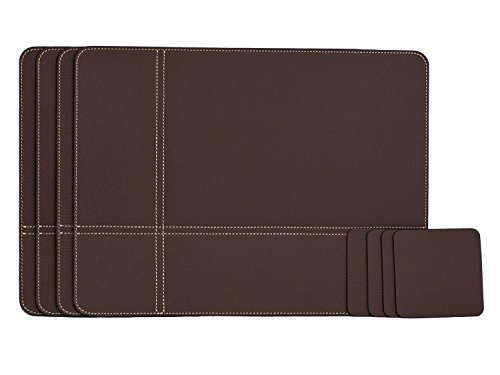 Nikalaz Set of Brown Placemats and Coasters, 4 Table Mats and 4 Coasters, Place Mats 15.7 x 11.8 inches and Coasters 3.9 x 3.9 inches, Italian Recycled Leather, Dining Table Set