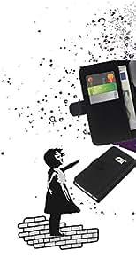 JackGot ( Banksy Chica de Graffity ) Samsung Galaxy S6 EDGE (NOT S6) la tarjeta de Crédito Slots PU Funda de cuero Monedero caso cubierta de piel