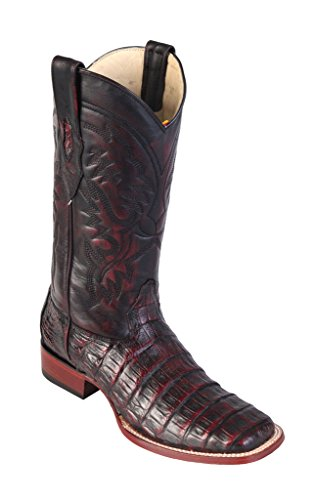 Men's Wide Square Toe Black Cherry Genuine Leather Caiman Belly Skin Western Boots -
