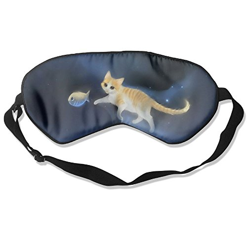 Silk Sleeping Mask Eye Cat Cute Fish Lightweight Soft Adjustable Strap Blindfold For Night's Sleep Nap Travel Eyeshade Men And Women]()