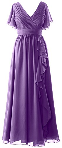 MACloth Women Short Sleeves Mother of the Bride Dress V Neck Formal Evening Gown Regency