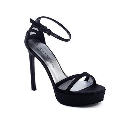 Stuart Weitzman Women's 'Tizyou' Platform Leather Heel Glitter Black Shoes