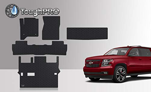 ToughPRO Floor Mats Set + 3rd Row + Cargo Compatible with Chevrolet Suburban - 2nd Row Bench Seating - All Weather - Heavy Duty - Black Rubber - (Made in USA) - 2015-2019