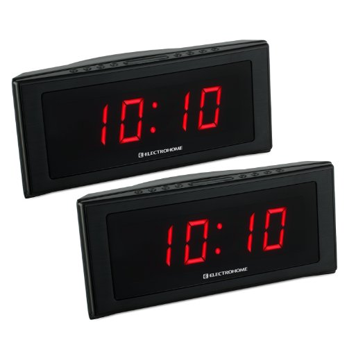 Electrohome 1.8 inch Jumbo LED Alarm Clock Radio with Battery Backup, Auto Time Set, Digital AM/FM Radio & Dual Alarm - 2 PACK