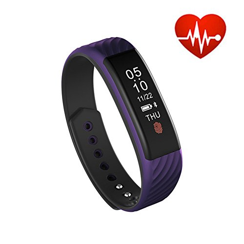 Price comparison product image elecfan Bluetooth Fitness Activity Tracker Bracelet, Smart Watch with Color Screen, Blood Pressure Heart Rate Sleep Monitor, Pedometer, Waterproof Wireless Smart Wristband - Purple