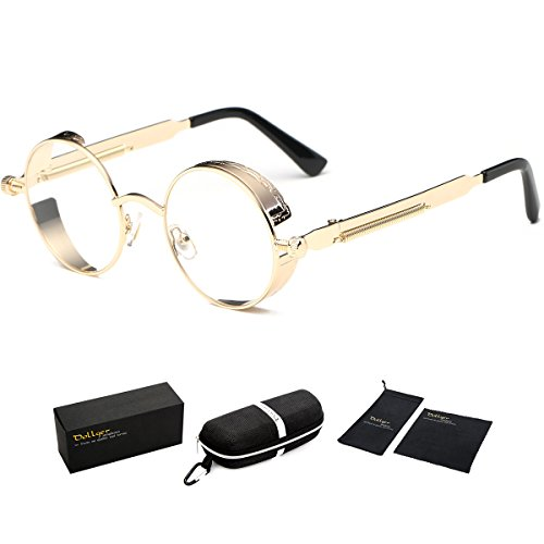 - Dollger Gold Clear Sunglasses Round Vintage Sunglasses Metal Frame