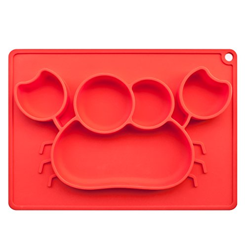 Big Crabs-Shaped Baby Feeding Mat, BliGli Toddlers Silicone Placemat, Non-Slip Baby Plates, Dishwasher/Microwave Oven Safe, Fits Most High Chair Trays, Red, 1 Pack (Older Fruit Dessert Bowl)
