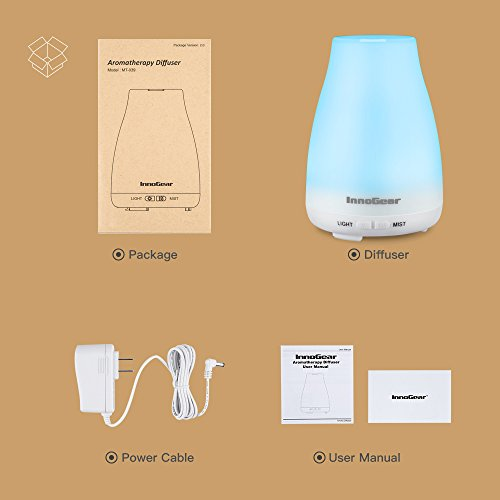 Large Product Image of InnoGear 2nd Version Aromatherapy Essential Oil Diffuser Ultrasonic Diffusers Cool Mist Humidifier with 7 Colors LED Lights and Waterless Auto Shut-off for Home Office Bedroom Room