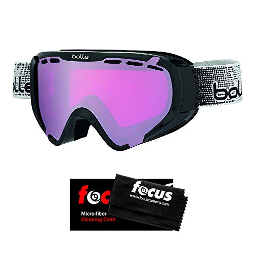 0860c9ecf2f8 Bolle Explorer Junior Snow Goggles (Shiny Black Frame Vermilion Ventilated  Dual Lens) with Microfiber Cleaning Cloth
