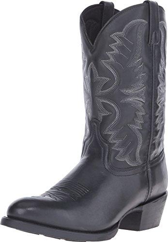 (Laredo Men's 12'' Birchwood Western Embroidered Round Toe Cowboy Boots, Black Leather, 10.5 D)