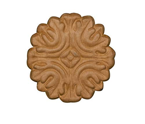 (Embossed Wood Decorative Ornate Rosette Ornament in Knotty Pine- 3 1/2