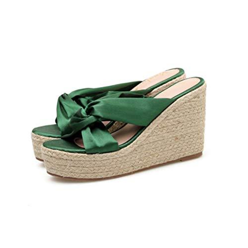 Nudo Verano Antideslizante Respirable A 35 Mariposa Zapatillas Posterior Durable De Seda green Sandalias Hecho Mano Tejeduría Mujer Único Impermeable 7wPxAaqt