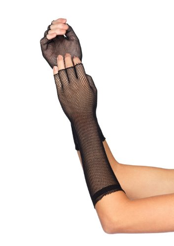 Leg Avenue Women's Elbow Length Micro Net Fingerless Gloves, Black, One (Leg Avenue Elbow)